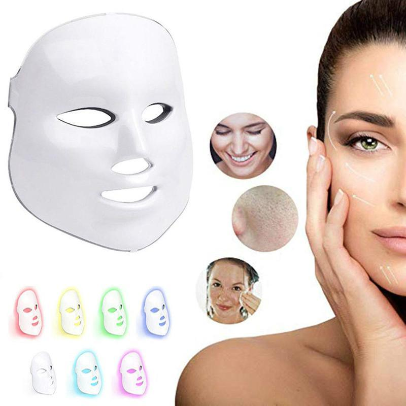 7 color led face mask photon light therapy