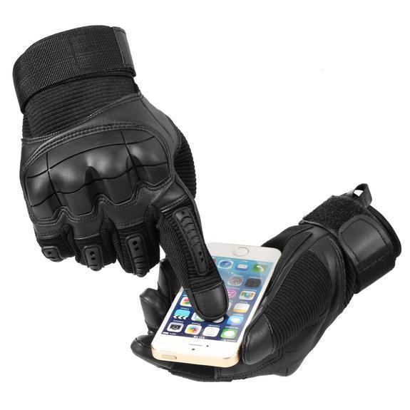black gloves on phone